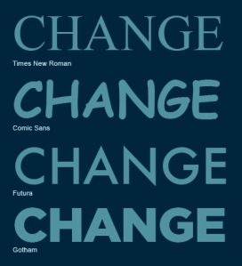 "Resim 15. Barack Obama seçimlerde afişlerde Gotham yazı tipiyle boy gösterdi: ""Change, Hope, Yes We Can""."